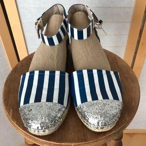 Sz 10 Kate Spade espadrilles stripes & glitter